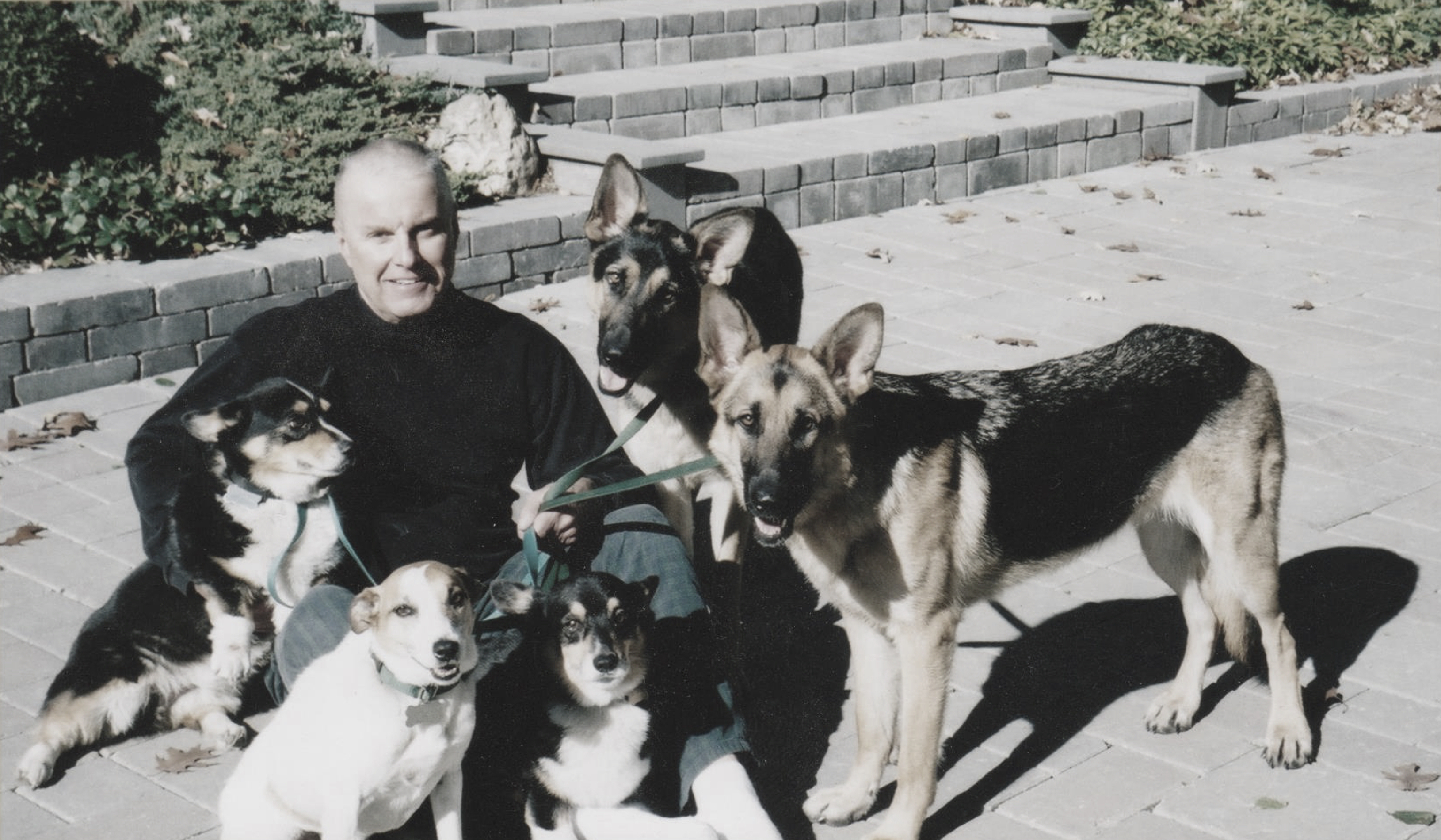 Brooks McCormick Jr. with his dogs